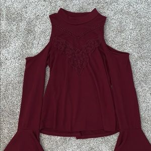 Maroon High Neck Capped Long Sleeves Shirt